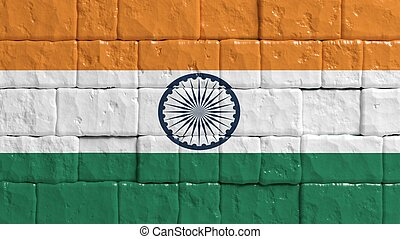Brick wall with painted flag of India