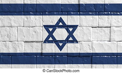 Brick wall with painted flag of Israel
