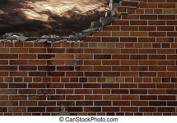 brick wall with stormy sky