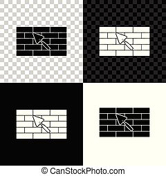 Brick wall with trowel icon isolated on black, white and transparent background. Vector Illustration