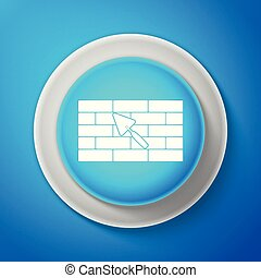 Brick wall with trowel icon isolated on blue background. Circle blue button. Vector illustration