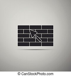 Brick wall with trowel icon isolated on grey background. Flat design. Vector Illustration