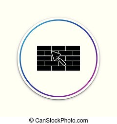 Brick wall with trowel icon isolated on white background. Circle white button. Vector Illustration