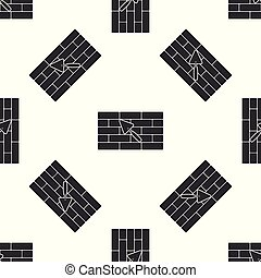 Brick wall with trowel icon seamless pattern on white background. Flat design. Vector Illustration