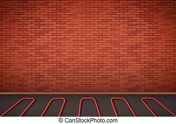 Brick wall with water heating floor
