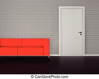 Brick wall with white door and red sofa