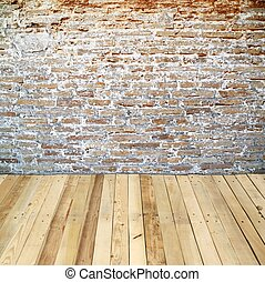 brick wall with wooden floor - brick wall room with wooden...