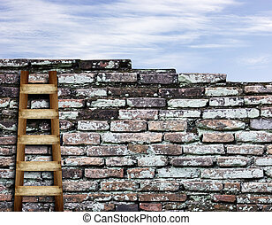 brick wall with wooden ladder background