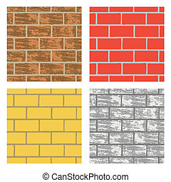 Brick Walls - Seamless brick wall repeating backgrounds in...