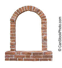 Brick window as a frame, isolated on white background