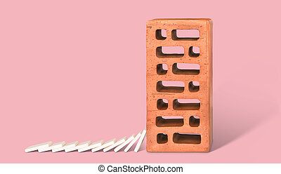 Brick with falling down dominoes.
