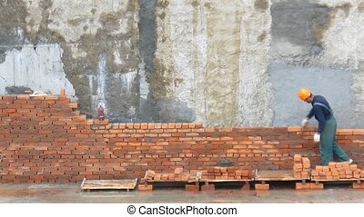 Brick worker time lapse - Brick worker, time lapse