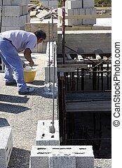 bricklaye, szerkesztés munkás, kőműves