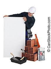 bricklayer, 带, a, 空白, 板
