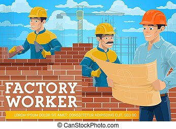Bricklayer and architect at construction site