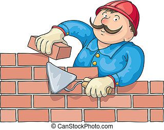 Bricklayer At the Work - Mustachioed bricklayer builds a red...