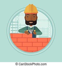 Bricklayer building brick wall vector illustration