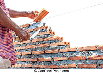 bricklayer building wall isolated on white background