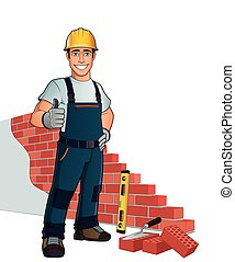 Bricklayer - Man building wall, with diferent tools