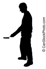 Bricklayer man with trowel silhouette on white