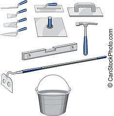 Bricklayer Masonry Tools - Illustration of tools used for...