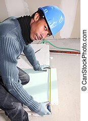 Bricklayer measuring plate