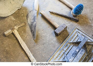 bricklayer tools men working  ,construction background