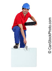 Bricklayer with a board left blank for your message