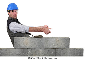 Bricklayer with copyspace