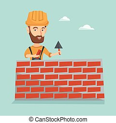 Bricklayer working with spatula and brick. - Hipster...