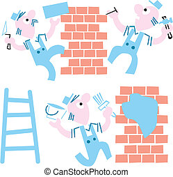 bricklayers, cartoon., -, illustratie, vector, achtergrond,...