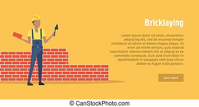 bricklaying., brique, ouvrier, spatule, mains