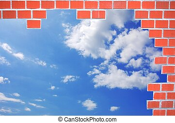 bricks and blue summer sky
