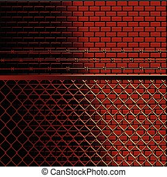 Bricks and fence background