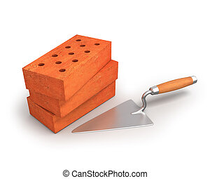 Bricks and trowel isolated on white background