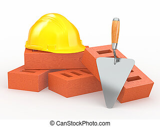 Bricks, hardhat and trowel on white background. 3d