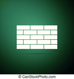 Bricks icon isolated on green background. Flat design. Vector Illustration