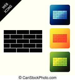 Bricks icon isolated. Set icons colorful square buttons. Vector Illustration