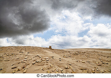 Bricks in a dry desert in cloudy weather