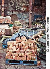 Bricks in scrap yard