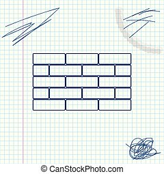 Bricks line sketch icon isolated on white background. Vector Illustration