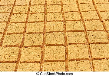 Bricks manufactory Meybod - Mud-bricks manufactory detail in...