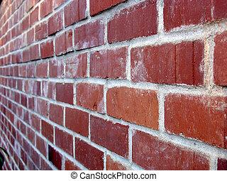 Red bricks at angle.