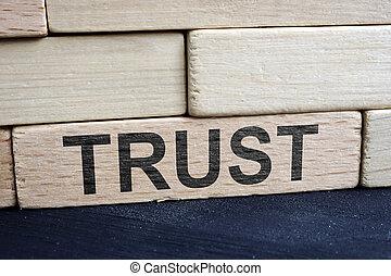 bricks., relation, mur, concept., bois, confiance