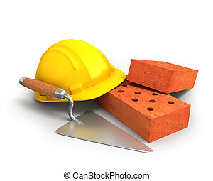 Bricks, trowel and a yellow plastic helmet isolated on white...