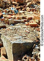 bricks., vieux, site., construction, closeup, pile