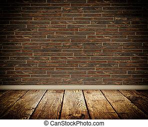 Bricks wall and wooden floor.