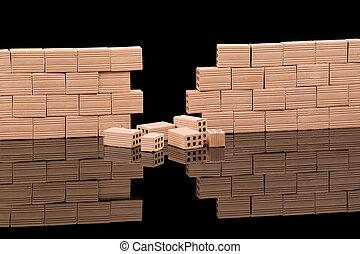 bricks wall broken