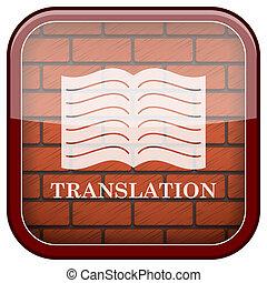 Bricks wall icon - Square shiny icon with white design on...