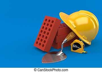 Bricks with trowel and hardhat